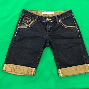 Jeans shorts long like new gold detail